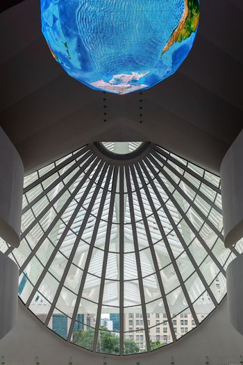 Indoors  Built Structure Low Angle View Architecture No People Blue Day Modern Futuristic Close-up Museum Brazil Art Rio De Janeiro Creativity Architecture_collection Creative Modern Low Angle View Architecture Reflection Sky Space Museu Walking Around