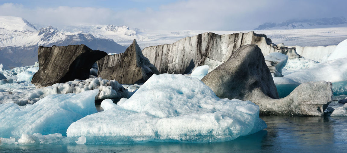 Cold Temperature Ice Glacier Water Landscape Environment Scenics - Nature Frozen Nature Tranquil Scene Beauty In Nature Tranquility Melting No People Non-urban Scene Iceberg Floating On Water Black Iceberg Iceland