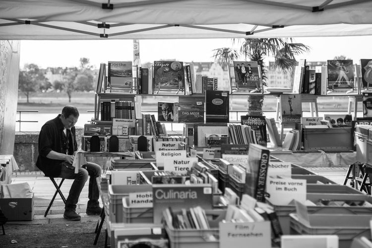 Büchermeile, Duesseldorf, Germany Black And White Blackandwhite Books Business Bücher  Everything In Its Place Large Group Of Objects Market Secondhand