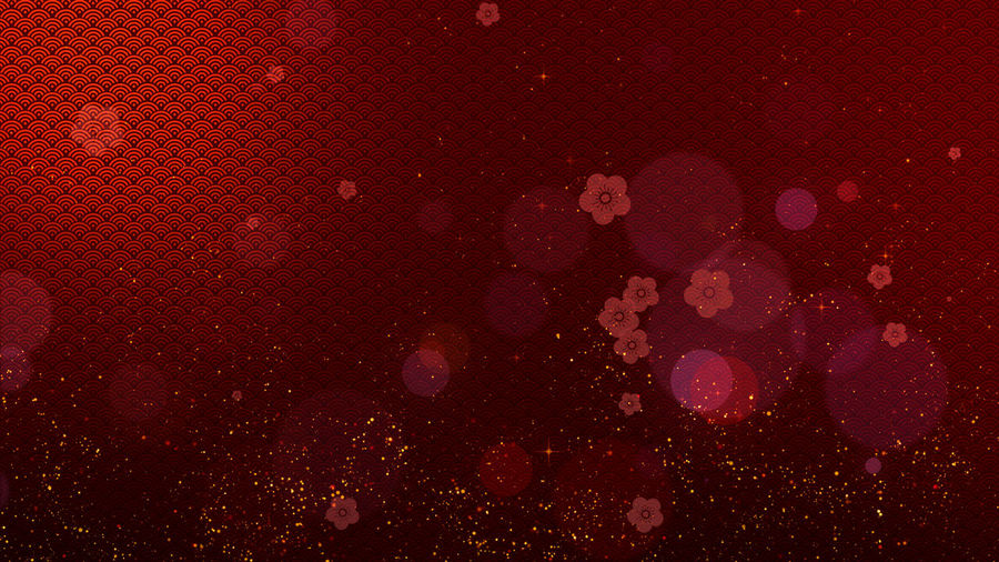 Chinese New Year background decoration with cherry blossom flowers blooming Cherry Blossom Gong Xi Fa Cai Good Luck Prosperous Abstract Backgrounds Chinese Decoration Chinese Decorations Chinese Texture Gong Hay Fat Choy Particles Flowing Pattern Red Background