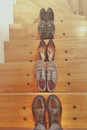 Everything In Its Place Stairs Steps Shoes Feet Upstairs Wood
