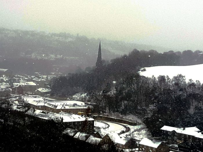 view of snow over Todmorden Unitarian church spire Snow Church Weather Snowing #landscape #nature #photography #blackandwhite #NoFilter #likeforlike #likemyphoto #qlikemyphotos #like4like #likemypic #likeback #ilikeback #10likes #50likes #100likes #20likes #likere