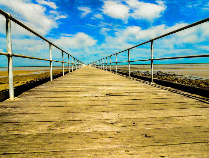 View of suspension bridge against cloudy sky