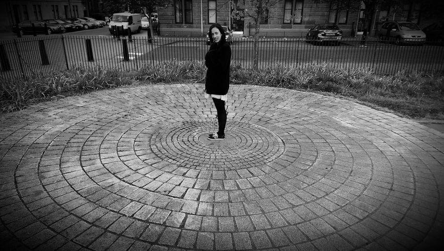 Black & White Black And White Concentric Circles Park Life Street Photography Girl In The Middle Glasgow