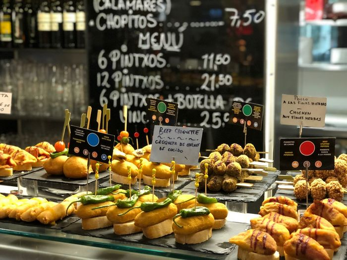 Comidas Tapas Pintxos Variation Food And Drink Text Retail  For Sale Food Freshness Small Business Store Price Tag Abundance Market No People Large Group Of Objects Communication Indoors  Food Stories