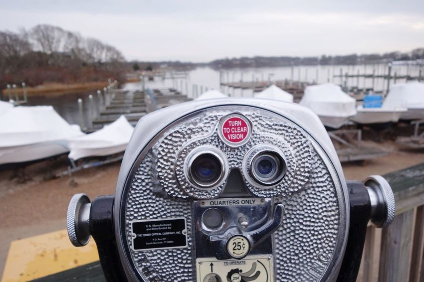 Coin-operated Binoculars Coin Operated Binoculars Close-up Focus On Foreground Hand-held Telescope Water Metal Day Outdoors Technology Telescope No People Nature Vision Pier Marina Rhode Island New England