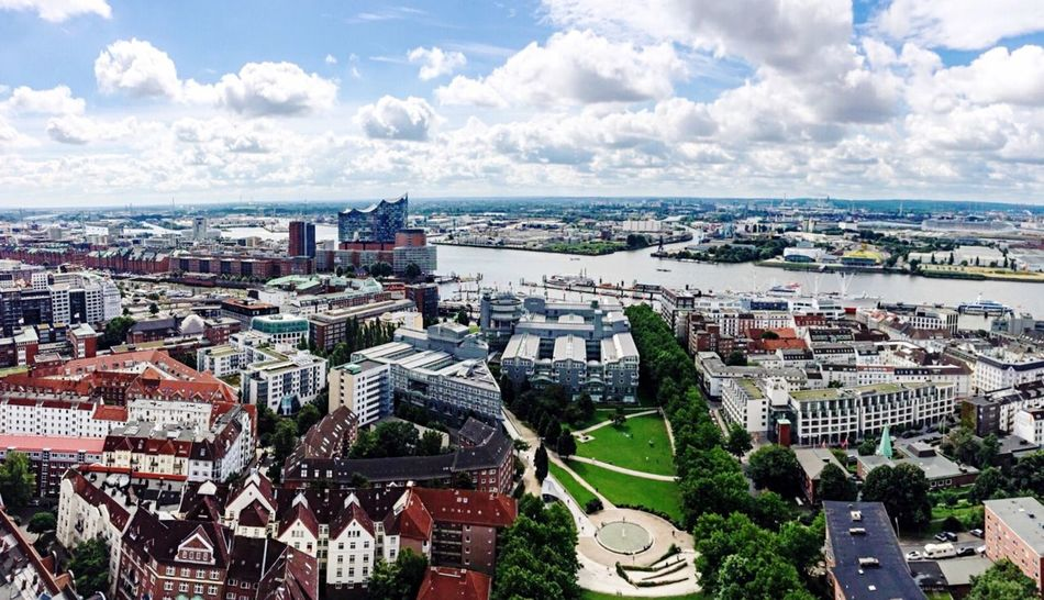 •above• Cityscape City Travel Destinations Urban Skyline Architecture Aerial View High Angle View Sky City Life Building Exterior Cloud - Sky Business Finance And Industry Outdoors Cultures Skyscraper Day Downtown District No People Hamburg Elbphilharmonie Exceptional Photographs Tadaa Community
