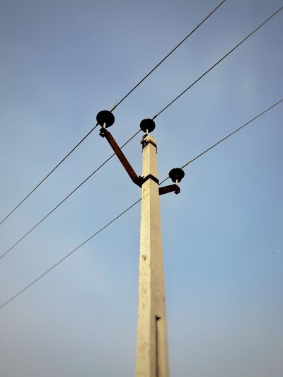 Low angle view of bird perching on pole against clear sky
