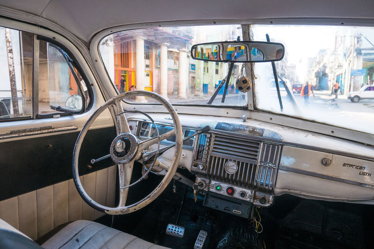 Cuba Havana Car Car Interior Close-up Day Land Vehicle Mode Of Transport No People Steering Wheel Transportation Vintage Cars Windshield