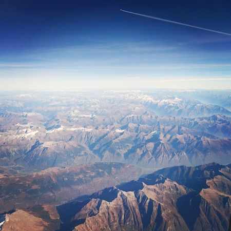 Aerial View High Angle View Landscape Mountain No People Outdoors Sky Snow Scenics Nature Blue Day Flying High Flying Alps Airplane Horizon Over Land Business Finance And Industry Traveling Transportation Far Distance Breathing Space Lost In The Landscape Shades Of Winter An Eye For Travel