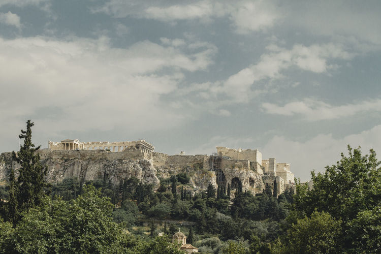 Parthenon Acropolis Ancient Civilization Architecture Beauty In Nature Built Structure Cloud - Sky Day Environment Growth History Land Mountain Nature No People Outdoors Plant Scenics - Nature Sky The Past Travel Travel Destinations Tree