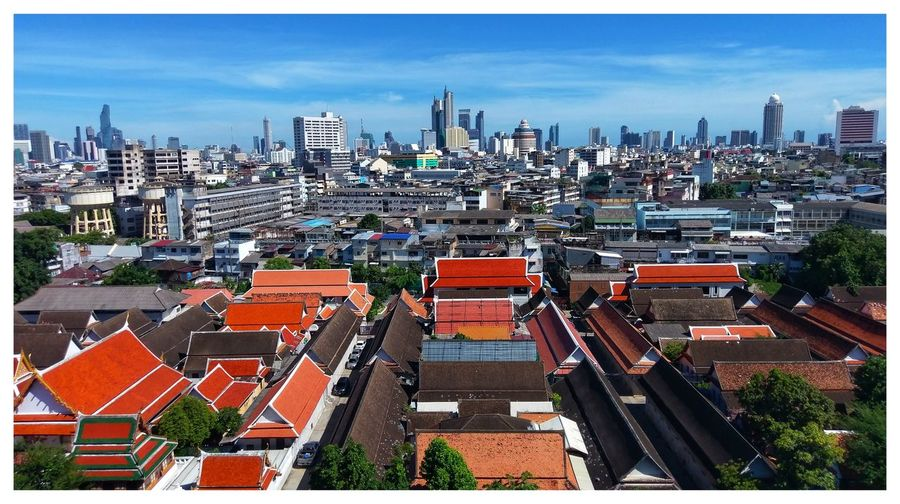BKK Contrast Bkk Thailand City Cityscape Urban Skyline Skyscraper Modern Aerial View High Angle View Sky Architecture Building Exterior Housing Settlement Town Tiled Roof  Place Location Rooftop Roof TOWNSCAPE Residential District