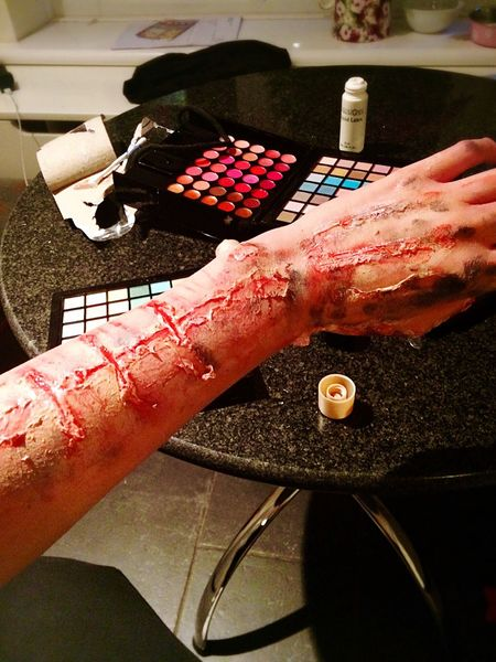 Liquidlatex Halloweenmakeup Zombie Bitten MYArtwork❤ Fun! Messing Around Prehalloween Spirit