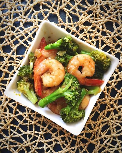 Stirfry Shrimp And Broccoli Shrimps Brocolli Food High Angle View Homecooking Healthy Eating Vegetable Freshness No People Close-up