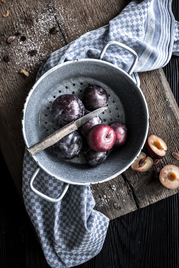 Berry Fruit Bowl Close-up Directly Above Eating Utensil Food Food And Drink Freshness Fruit Healthy Eating Healthy Lifestyle High Angle View Kitchen Utensil Plum Preparing Food Ripe Spoon Still Life Table Wellbeing Wood - Material