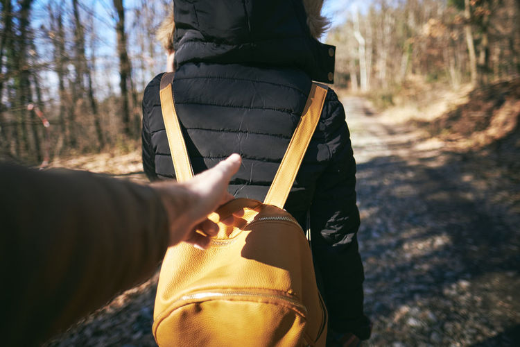 Cropped hand holding woman bag