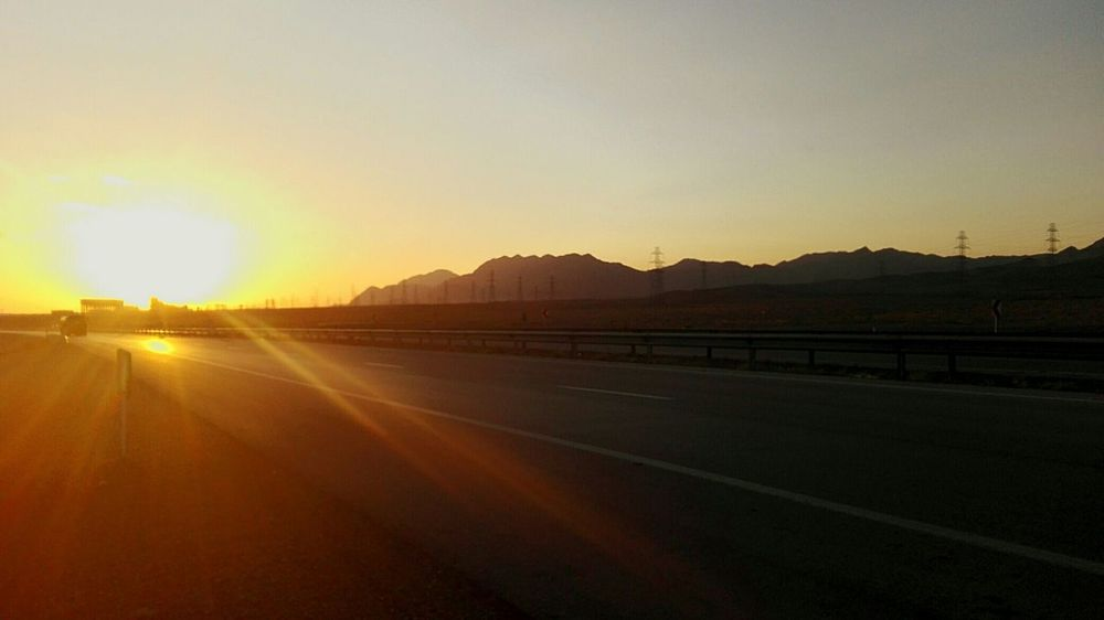 Iran Kerman Road Sunset