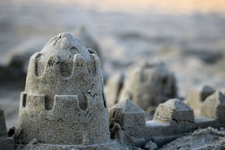 Close-up of stone sculpture on beach