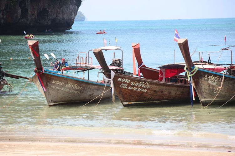Beach Beauty In Nature Boat Day Horizon Over Water Longboat Longtail Boat Mode Of Transport Moored Nature Nautical Vessel No People Outdoors Scenics Sea Sky Thailand Thailnad Tranquil Scene Tranquility Transportation Water