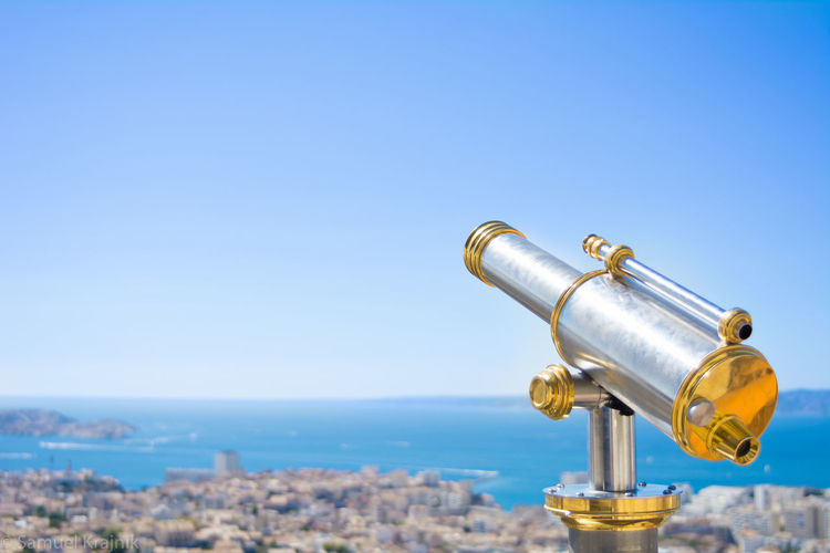 7 Vie Est Belle Above Town Blue Sky Day Gold Marseille No People Notre Dame De La Garde Outdoors Silhouette Telescope View View From Above église Protestante Le Panier