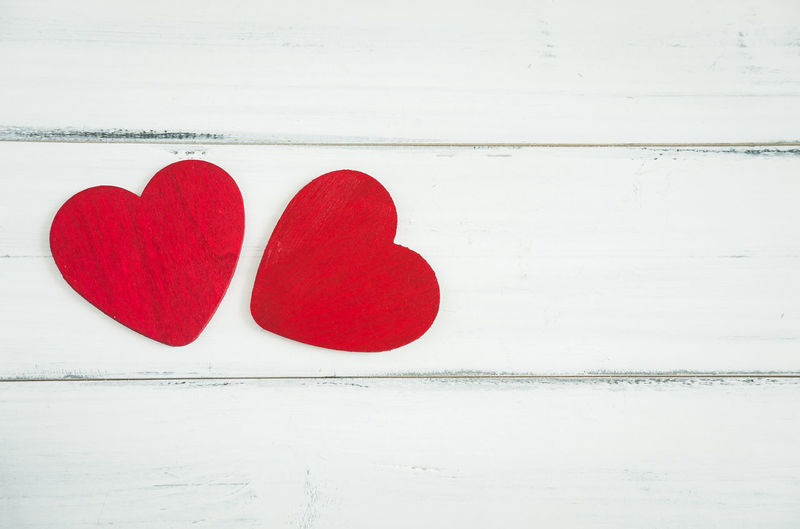 Close-up of heart shape on table against white wall