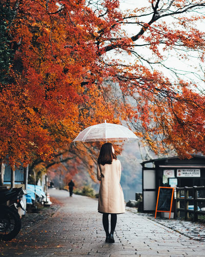 Raining in Autumn Autumn Tree Real People Umbrella Change Plant One Person Protection Women Lifestyles Rear View Full Length Adult Day Nature Leisure Activity Architecture Orange Color Walking Rain Outdoors Rainy Season It's About The Journey 2018 In One Photograph