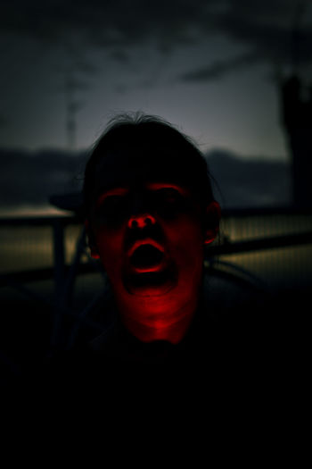 Darkness Fear One Person Portrait Red Light Selfportrait Sinister Sky Sunset