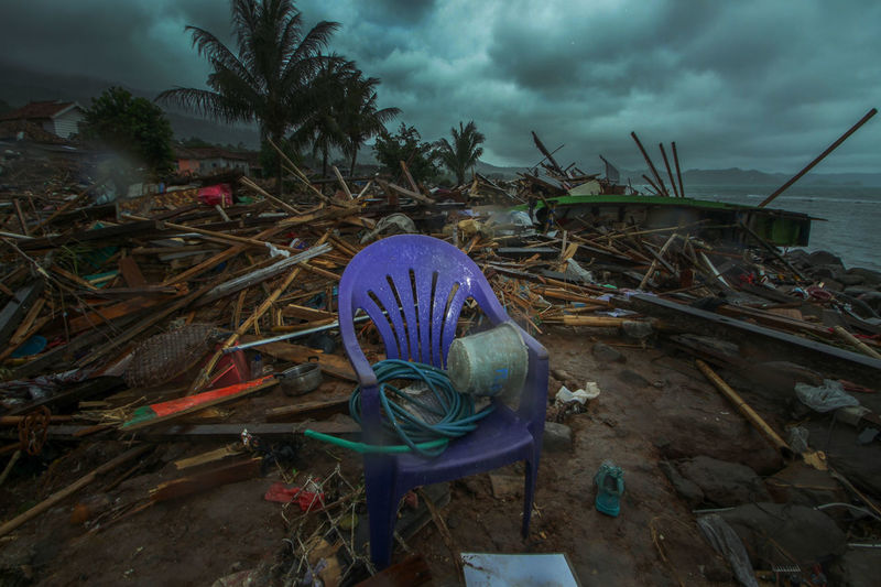 Tsunami Aftermath in Lampung, Indonesia Cloud - Sky Sky Nature Plant No People Land Day Abandoned Water Outdoors Storm Garbage Tree Field Overcast Beach Dusk Transportation Wood - Material Fishing Industry Tsunami Tsunami Disaster INDONESIA Lampung