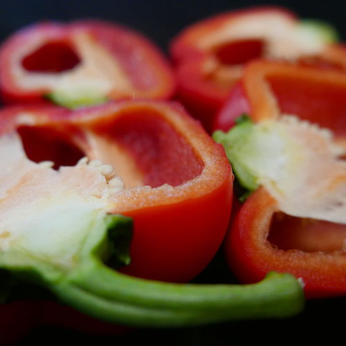 Close-Up Of Chopped Red Bell Peppers