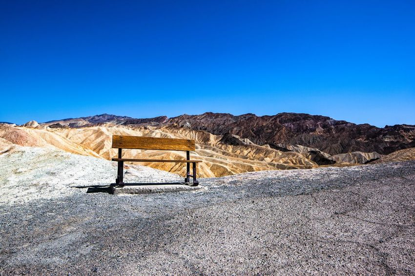 Wait Death Valley California Blue Sky And Clouds Chair Wood Desert EyeEm United States Of America National Park Collection Death Valley National Park Sky Blue Copy Space Nature Clear Sky Day Land