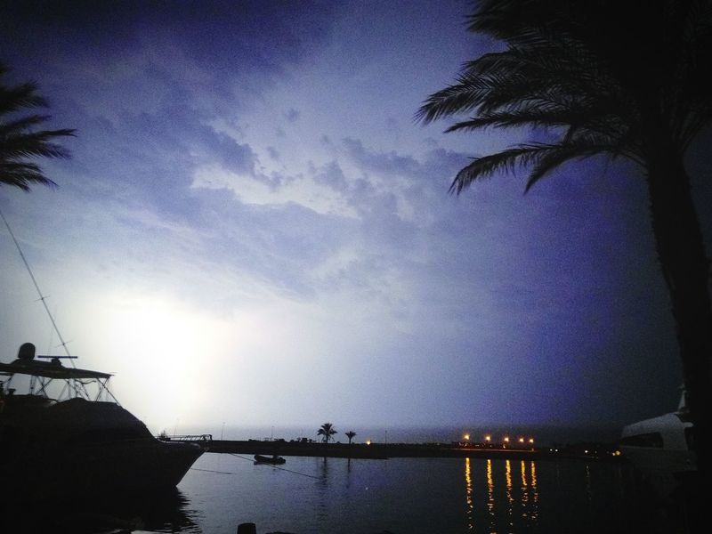 The lightning storm Skay Blue Lightning Storm Storm Storm Cloud Stormy Weather RedSea Sky Light Marty Prefect Reflections Port Ghalib First Eyeem Photo
