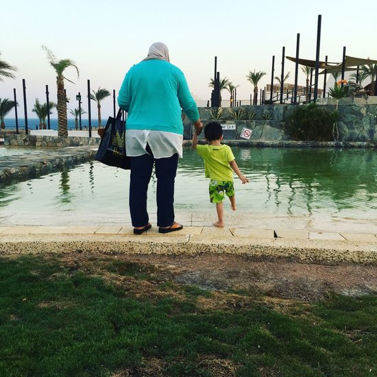 Summer Time  No Filters  Rear View IPhone 6s Photographer This Is Egypt ❤ Grandmother And Grandchild Green Mornings