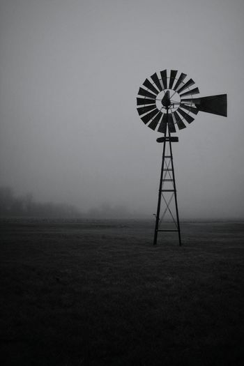 It was a Misty Morning today. Makes for a Moody Blackandwhite Photo! Landscape Nature Outdoors Windmill Black And White Blackandwhite Photography Black & White Black&white