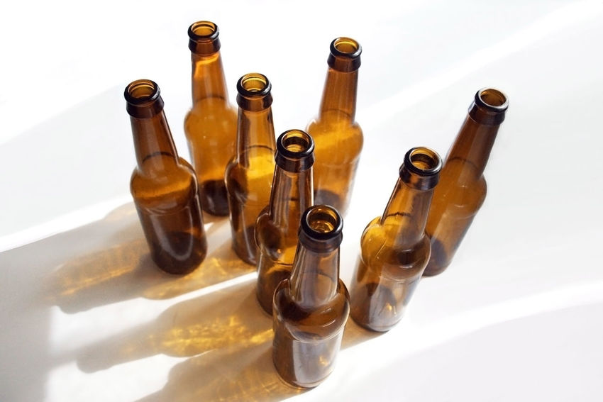 Glass beer bottles Beer Drinks Bottle Container Drink Glass Glass - Material Recycling Shadow White Background