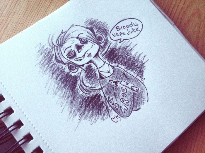 Creepy Art Gothic Cute Art Drawing Weirdo Doodle Cartoon Sketch Ghoul Vape VapeLife Creepy Morbid