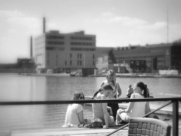 People Watching Blackandwhite Enjoying The Sun Coffee Shop