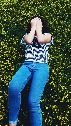 One Person Casual Clothing Grass Outdoors Flower Photography Flower Blooming Flower Albania Yellow Flower Flowers 🌸🌸🌸 Flowers Outdoor Nature Day Grass Inspire EyeEmNewHere