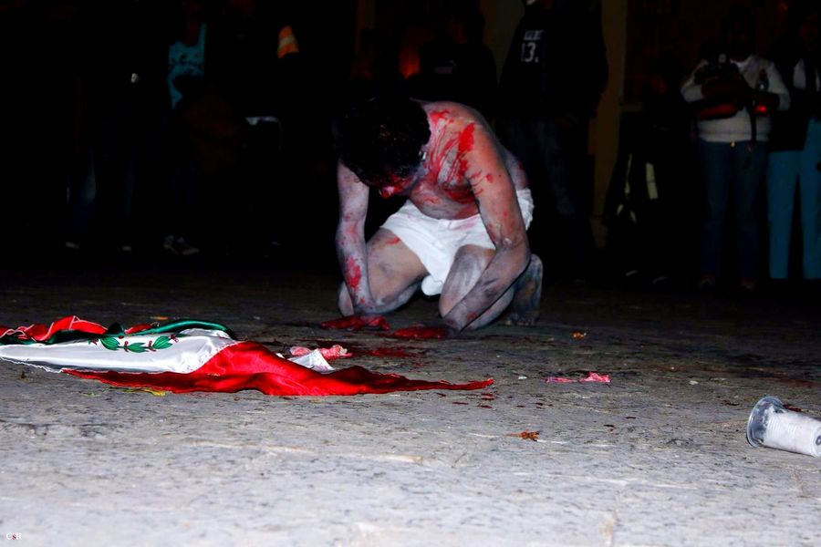 In Mexico the government is killing the people. Mexico is insecure for the women, for journalist, for students, for queers, for everybody against the system. In Mexico the government is misogynist and does not recognise our rights. Mexico #WeAre Sos Blood Performance Art #ThePolice is also killing people! They are killers, corruptors, and abusers.