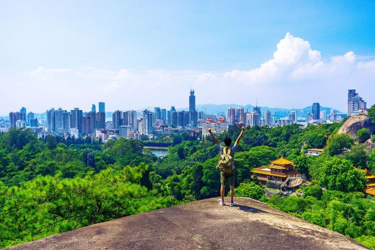 厦门 万石山 China City Cityscape Urban Skyline Skyscraper Sky Architecture Cloud - Sky Green Color