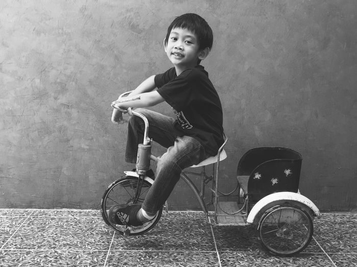Old Bycycle Boy Child Childhood Full Length Portrait Bicycle Girls Riding Pedal Smiling Cycling Tricycle Racing Bicycle Parking Exercise Bike Moving