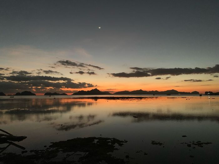 Following sunsets, el nido , The Philippines Sky Water Reflection Scenics - Nature Beauty In Nature Tranquility Tranquil Scene Nature Sunset Night Environment Landscape