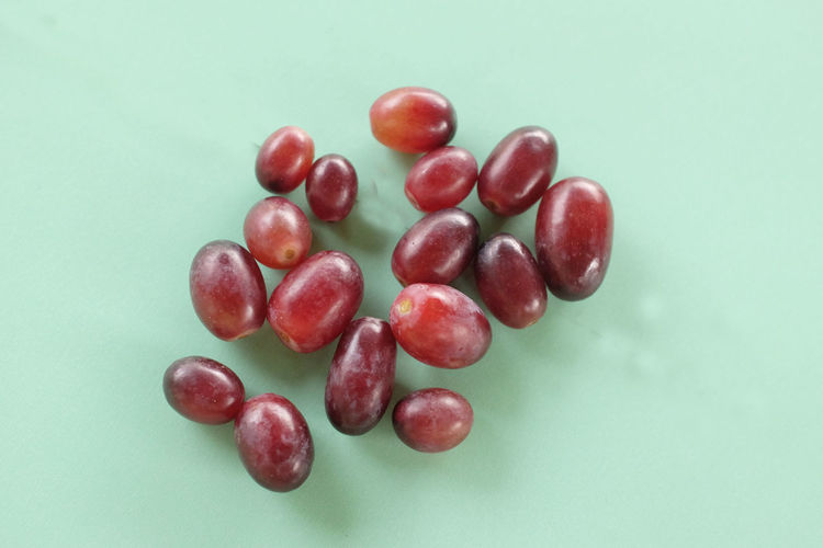High angle view of cherries against white background