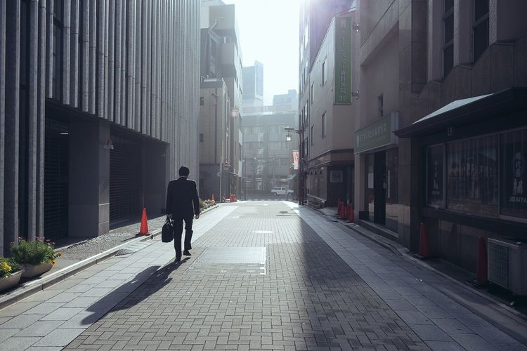 Alley Japan Morning Salaryman Streetphotography Sunlight Tokyo Whitecollar Feel The Journey People And Places Monday Blues Salary Man One Person The City Light Capture Tomorrow