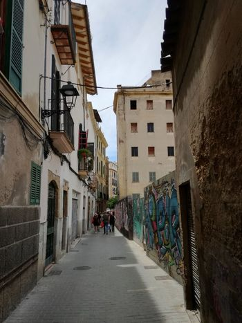 Palma De Mallorca Streets Of Palma Streetphotography City Residential Building Apartment House Street Architecture Sky Building Exterior Built Structure Narrow vanishing point Walkway Lane Passage Diminishing Perspective Empty Road