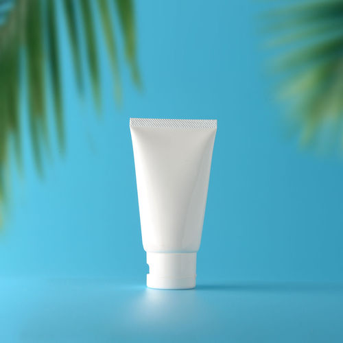 Set of cosmetic sun block on a blue background. Cosmetic package for natural beauty blank label branding mock-up concept. Branding Branding Mockup Cosmetics Cosmetic Products Cosmetic Mockup Beauty In Nature Close-up Sunblock Packaging Packaging Mockup Packaging Design Space Summer Summertime ♥ Vacations Nature