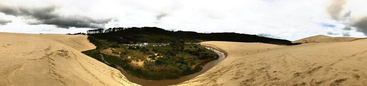 Dunes and forest Panoramic Panorama Adventure Dunes And Forest Northland New Zealand Great Sand Dunes Dunes Nature Beauty In Nature Sky Sand Cloud - Sky Landscape Tranquility Scenics Sand Dune No People Outdoors Day