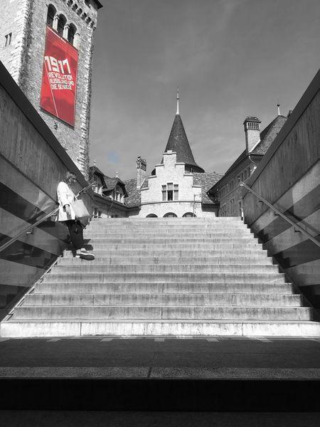 Stairway to revolution 1917 Architecture Blackandwhite Building Exterior Built Structure Flag Landesmuseum Zürich Revolution Selective Color Zurich, Switzerland Zürich