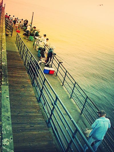 Fishermen Fishermen Fish Santa Monica Pier California USA Fishingpoles High Angle View Beachlife Beachlifestyle Water Pier Fishing Sport Colorphotography Surfaces And Textures Outdoors Positivity Color People Waitup Waitforme Wait People watching Hobbies Hobby SoCal