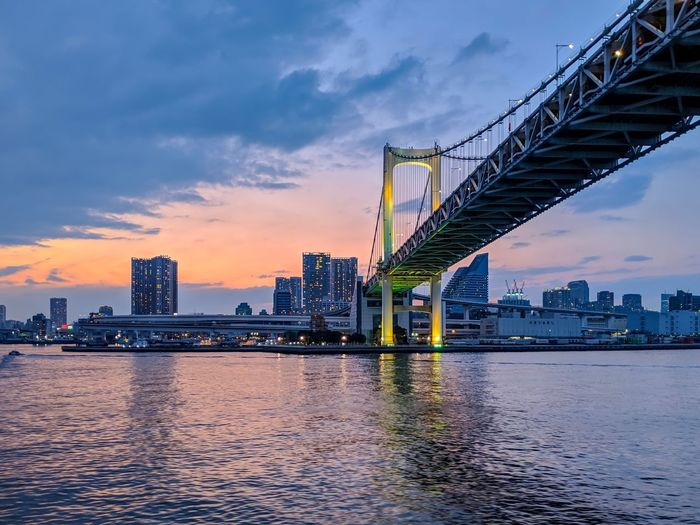SYMPHONY TOKYO BAY CRUSE Rainbow Bridge Tokyo Bridge Cityscape Evening Sky Landscape_Collection Landscape_photography Taking Photos EyeEm Best Shots EyeEm Gallery From My Point Of View The Week on EyeEm Architecture Sky Built Structure Water Waterfront Cloud - Sky City Building Exterior Sunset Bridge - Man Made Structure Skyscraper Bridge