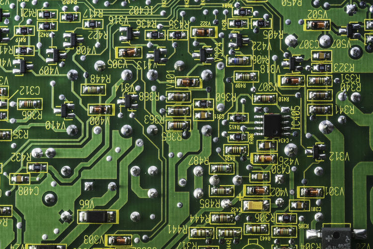 printed electronic circuit Backgrounds Circuit Board Close-up Complexity Computer Chip Computer Part Directly Above Electronics Industry Full Frame Green Color Mother Board No People Technology